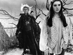 "David Bowie and Jennifer Connely starring in the movie ""Labyrinth."""